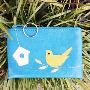#742 LAVISHY Boutique Coin Leather Purse Bird